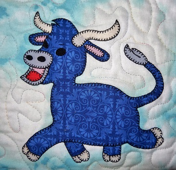 Bull applique by Ms P Designs USA