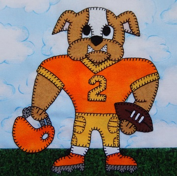 Bulldog football player by Ms P Designs USA