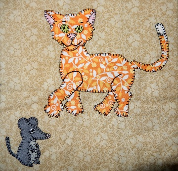 Cat and Mouse 1 applique by Ms P Designs USA
