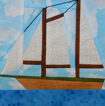 Schooner Paper Pieced Pattern by Ms P Designs USA