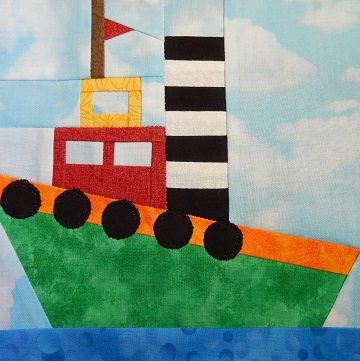 Tug Boat Paper Pieced Pattern by Ms P Designs USA
