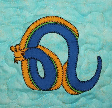 Blue Ribbon Eel Applique by Ms P Designs USA