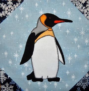 Emperor Penguin Applique Block by Ms P Designs USA