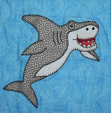 Great White Shark Applique by Ms P Designs USA
