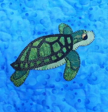 Green Sea Turtle Applique by Ms P Designs USA