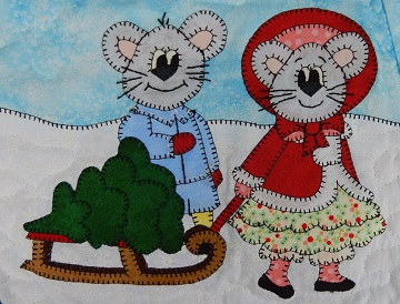Kid Mice with Christmas Tree by Ms P Designs USA