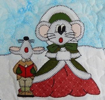 Mama and Boy Caroling Mice by Ms P Designs USA