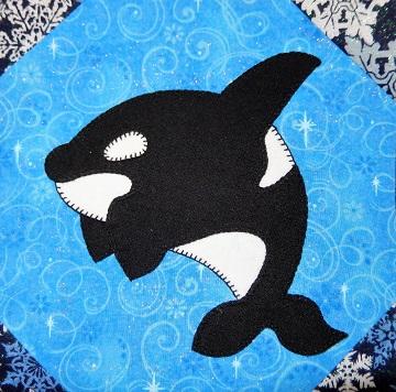 Orca Applique Block by Ms P Designs USA
