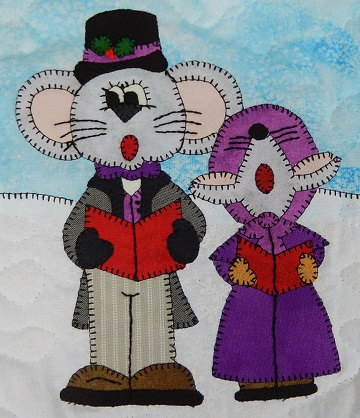 Papa and Girl Caroling Mice by Ms P Designs USA