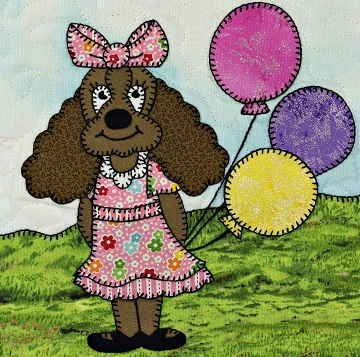 Puppy girl with balloon by Ms P Designs USA
