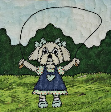 Puppy girl with jump rope by Ms P Designs USA