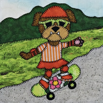 Puppy girl with skateboard by Ms P Designs USA