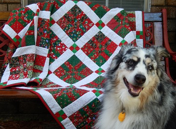 Sharon's 4-patch Christmas quilt with Rowdy; Ms P Designs USA