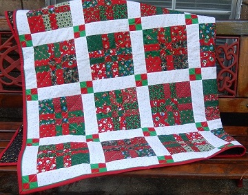 Sharon's 4-patch Christmas quilt; Ms P Designs USA