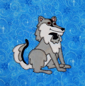 Tundra Wolf Applique Block by Ms P Designs USA