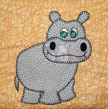 Hippopotamus Applique by Ms P Designs USA
