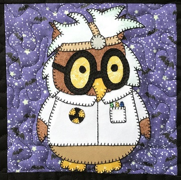 Mad Scientist Owl Applique by Ms P Designs USA