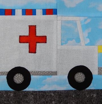 Ambulance Paper Pieced Block by Ms P Designs USA