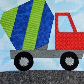 Cement Truck Paper Pieced Block by Ms P Designs USA