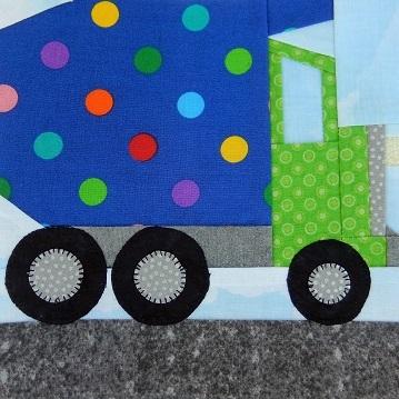 Dump Truck Paper Pieced Block by Ms P Designs USA