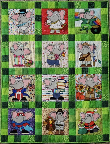 Elephants All Year Quilt by Ms P Designs USA
