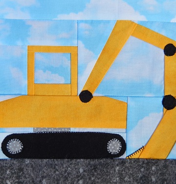Excavator Paper Pieced Block by Ms P Designs USA