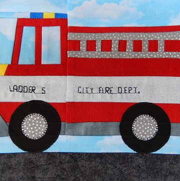 Fire Truck Paper Pieced Block by Ms P Designs USA