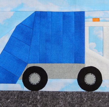 Garbage Truck Paper Pieced Block by Ms P Designs USA