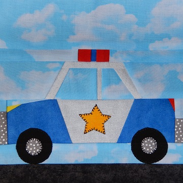 Police Car Paper Pieced Block by Ms P Designs USA