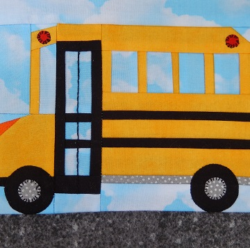 School Bus Paper Pieced Block by Ms P Designs USA