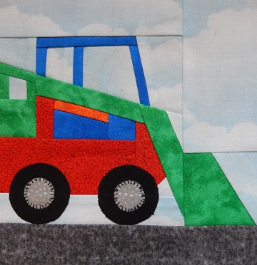 Skid Loader Paper Pieced Block by Ms P Designs USA