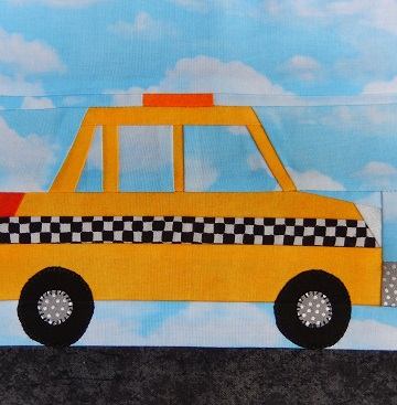 Taxi Cab Paper Pieced Block by Ms P Designs USA