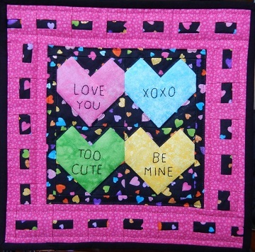conversation hearts miniature quilt by ms p designs usa