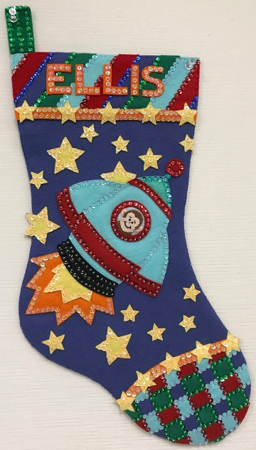 Rocket Monkey Stocking by Ms P Designs USA
