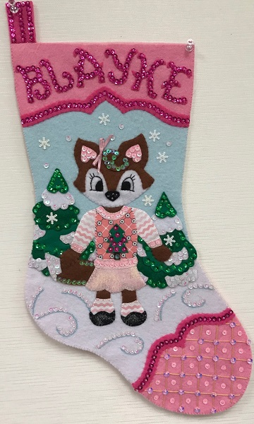 Ugly Sweater Fox Stocking by Ms P Designs USA