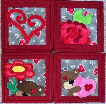 Valentine's Day Coaster Set by Ms P Desgins USA