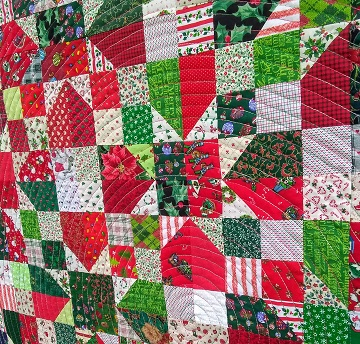 Scrappy Christmas Quilt #3 Close Up by Sharon @ Ms P Designs USA