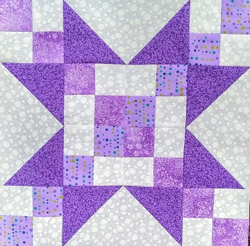 June Sawtooth Star Block A by Sharon @ Ms P Designs USA