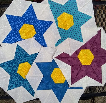 Star Flower Blocks July A by Sharon @ Ms P Designs USA