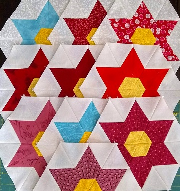 Star Flower blocks for August OMG by Sharon @ Ms P Designs USA