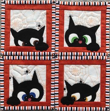 Halloween Cat Coaster Set by Ms P Designs USA
