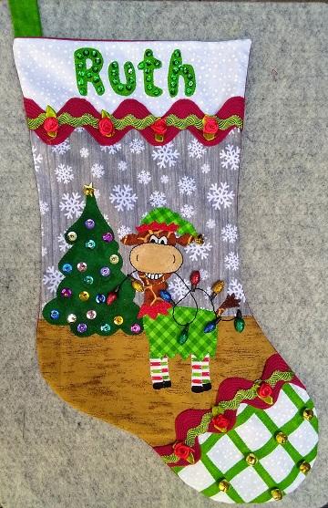 Giraffe Elf Stocking for Ruth by Sharon @ Ms P Designs USA