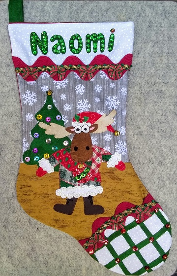Ugly Sweater Moose Stocking for Naomi by Sharon @ Ms P Designs USA